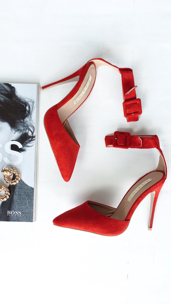 Riley Heel - Red Suede