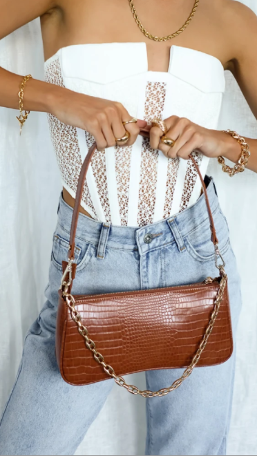 Rose Shoulder Bag - Tan Croc