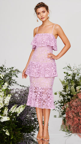 Snapdragon Fitted Layered Lace Dress - Floss- Cooper St