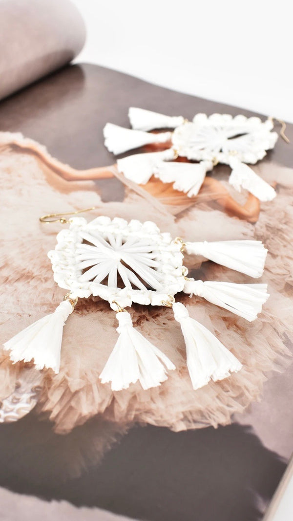 Raffia Drop Earrings - White