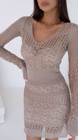 Shona Mini Dress - Taupe