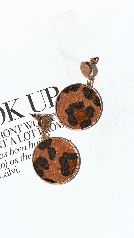 Kaitlyn Earrings - Gold/Leopard