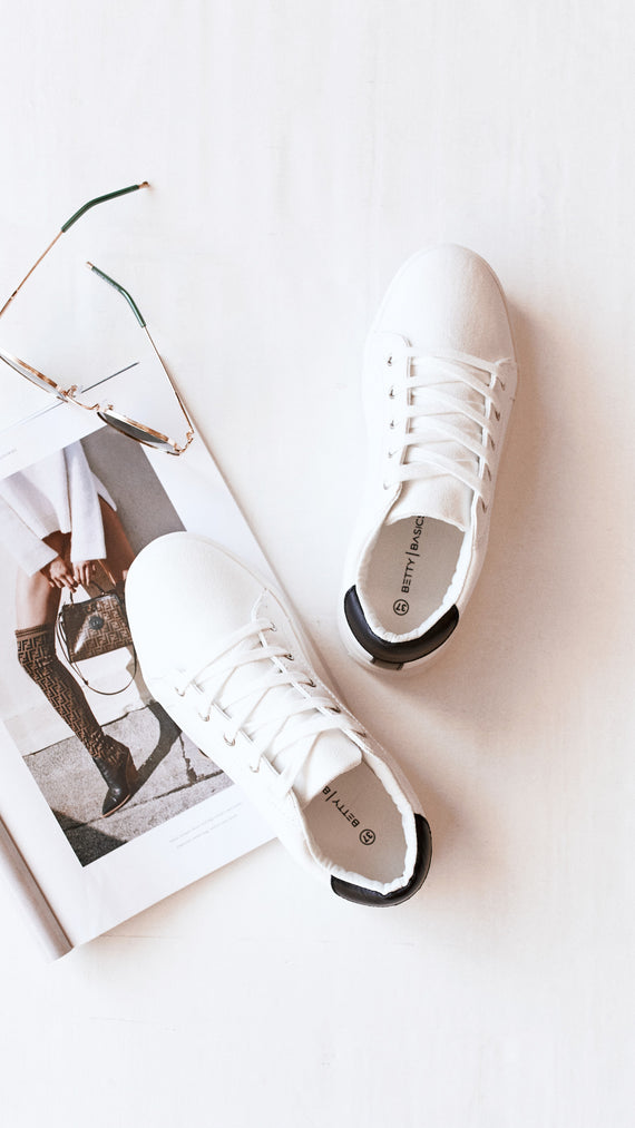 Exploration Sneaker - White/Black Contrast Heel