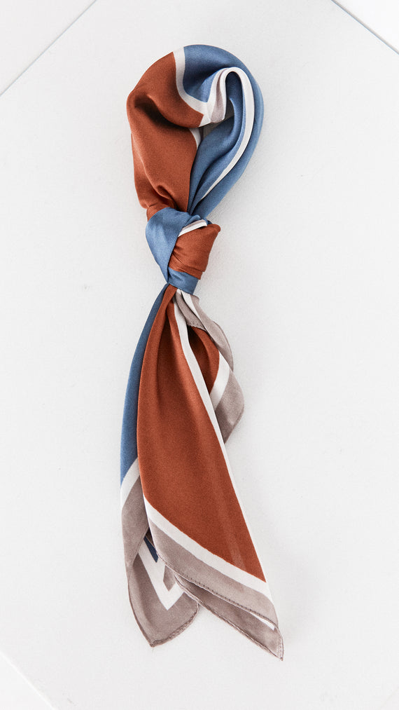 Survivor Head Scarf - Rust/Steel Blue