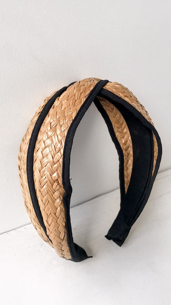 Thick Straw Woven Headband - Black Trim