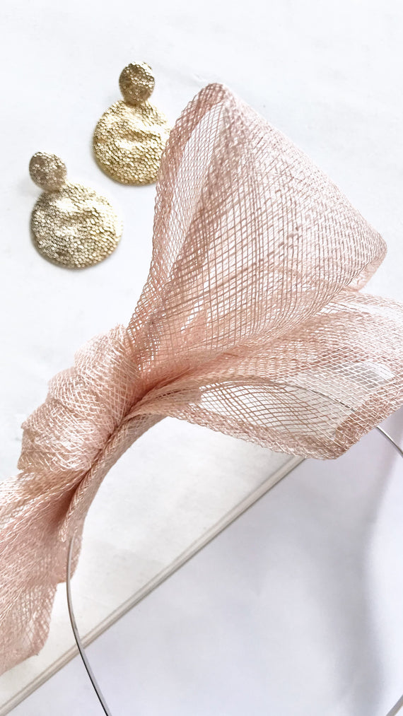 Adrasteia Linen Bow Fascinator/Headband - Nude