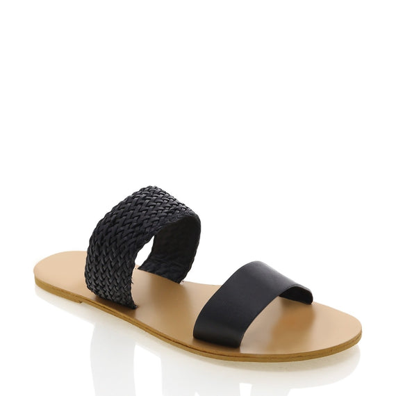 Antigua Slides - Black Woven
