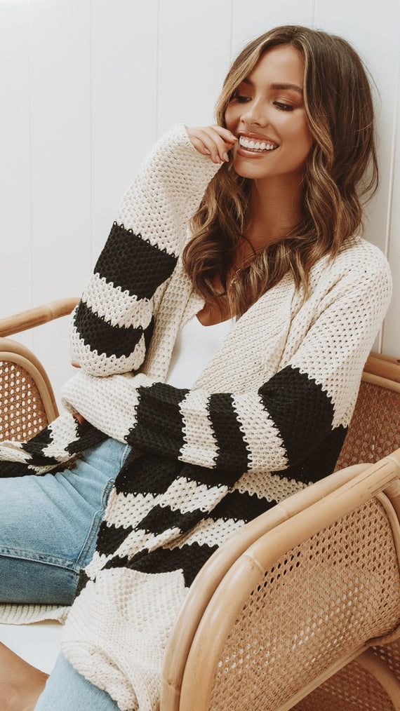 With You Knit Cardi - Natural/Black