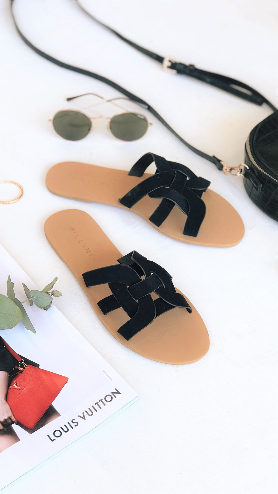 Atlantis Slide - Black Nubuck