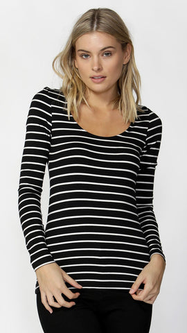 Madonna Long Sleeve Scoop Top - Stripe