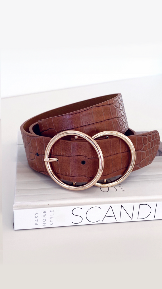 Marli Belt - Gold/Tan Croc