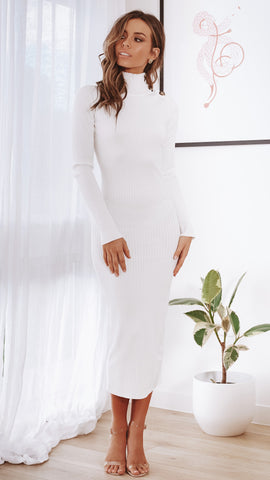 Melisandra Knit Dress - White