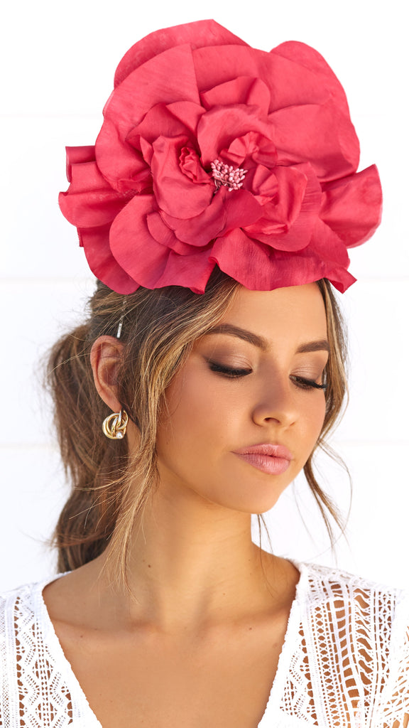 Cindy Fascinator - Raspberry