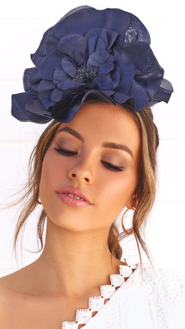 Cindy Fascinator - Navy