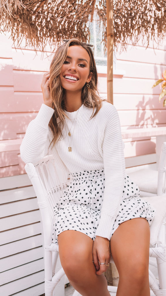 Ari Skirt - White Polka