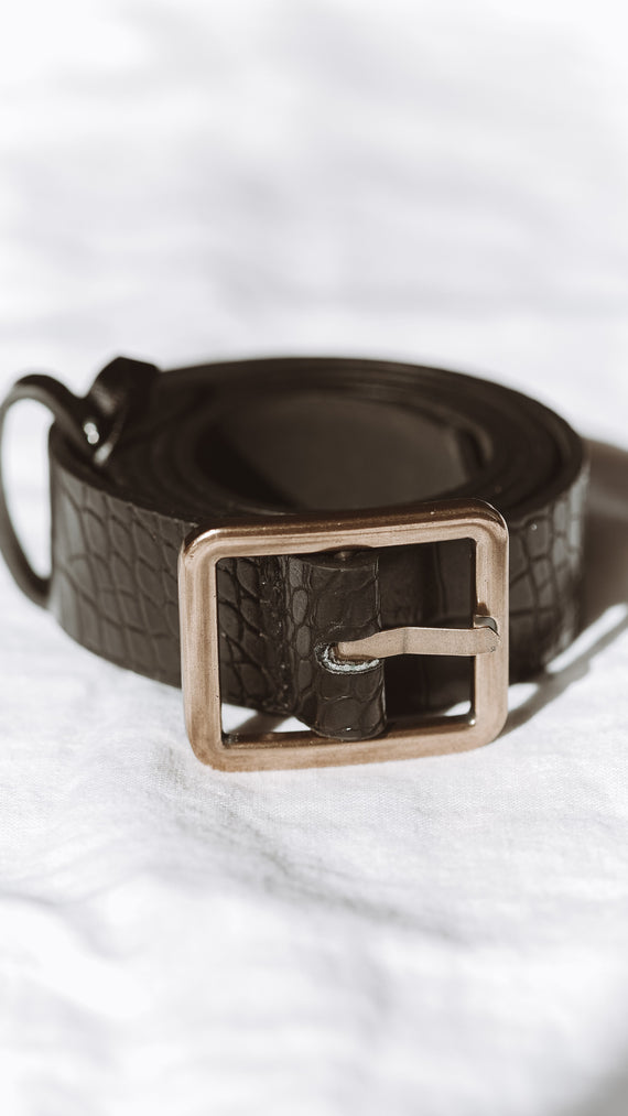 Miranda Belt - Black Croc/Gold Buckle