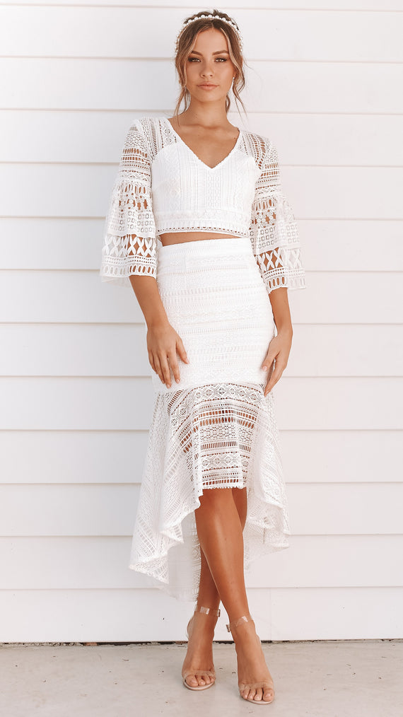 Rylie Top and Skirt Set - White