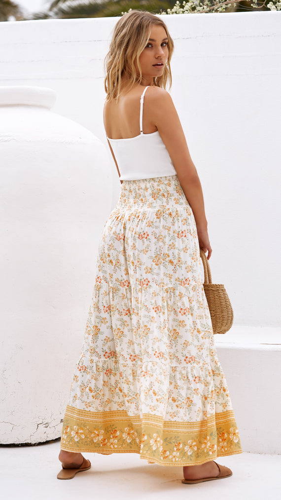 Alysia Skirt - Apricot Floral