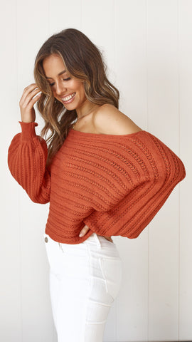 Jayden Knit Top - Rust