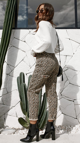 Back it Up Mom Jeans - Leopard