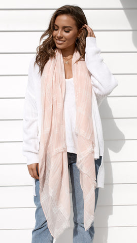 Wellington Scarf- Gingham Pink and White