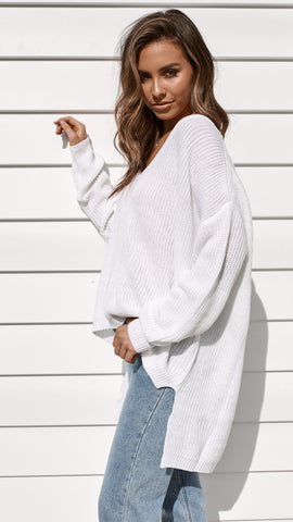 Sunday Morning Knit Top - White