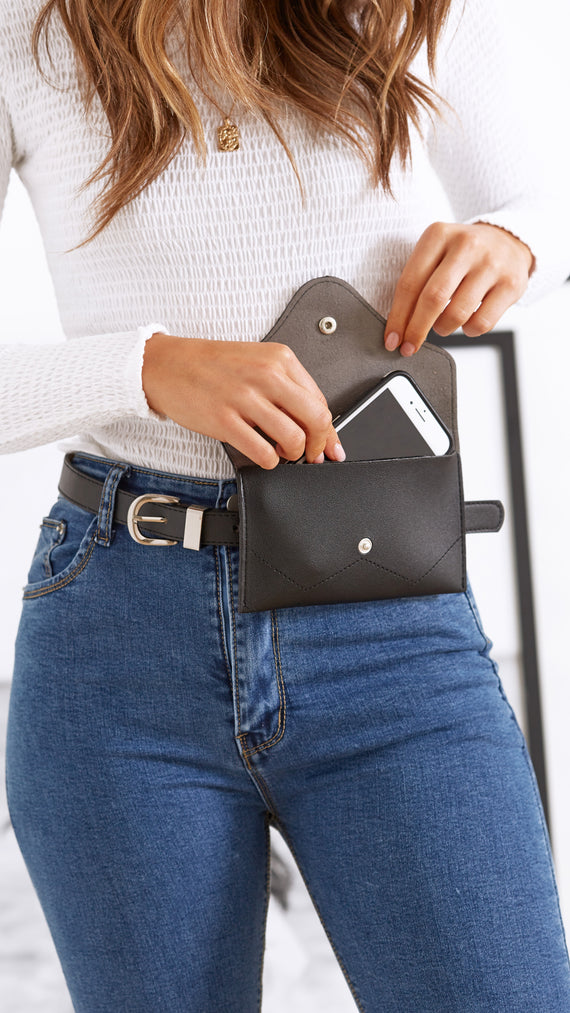 Kristie Coin Purse Belt - Black