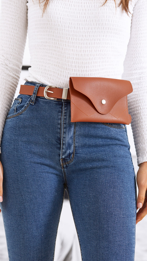 Kristie Coin Purse Belt - Brown