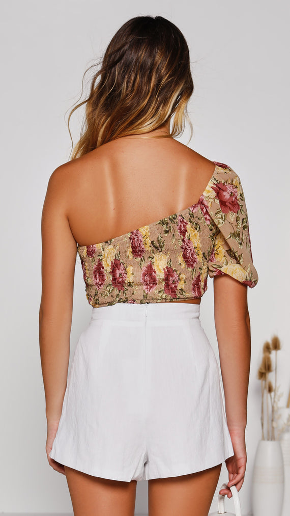 Lucile Top - Yellow/Pink Floral