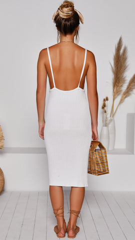 Pea Ribbed Knit Dress - White