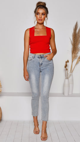 Tiller Crop Top - Red