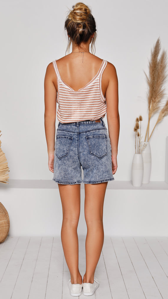Carmella Shorts - Blue Denim Wash