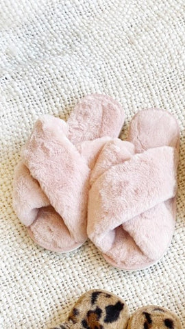 Jessica Fluffy Slippers - Pink