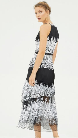 Mimosa High Neck Embroidered Dress