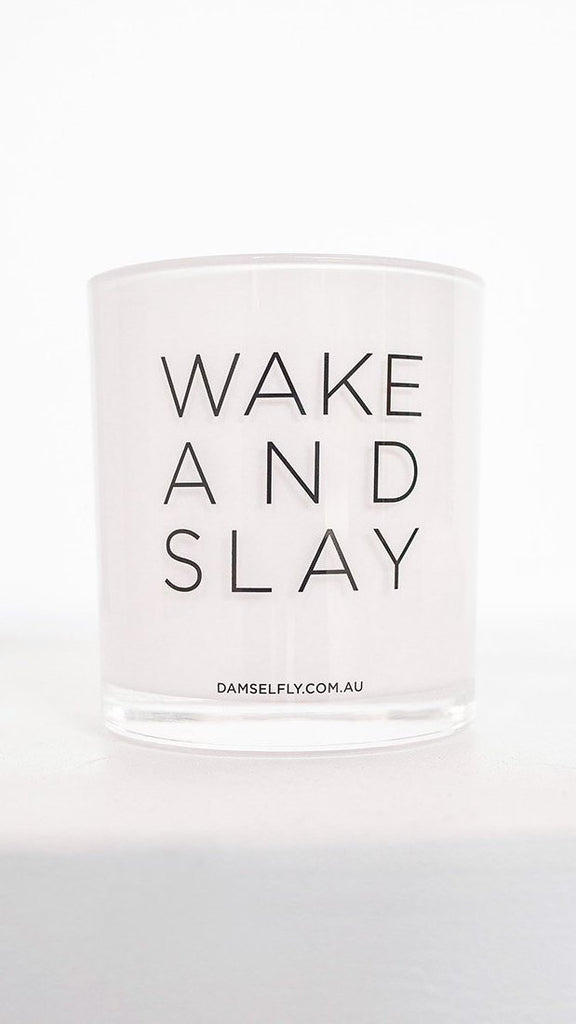Wake And Slay Candle - White