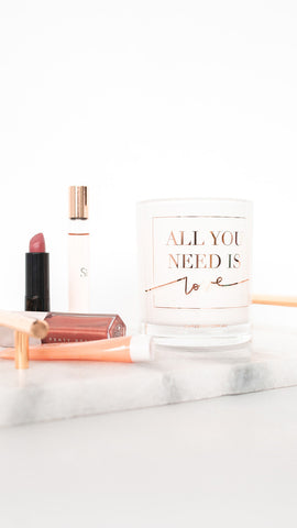 All You Need Is Love Candle - White & Rose Gold