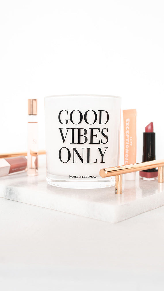 Good Vibes Only Candle - White