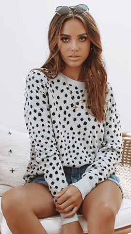 Baylee Knit Top - Grey Leopard