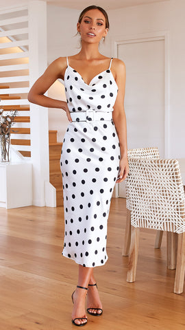 Fae Dress - Black/White Polka Dot
