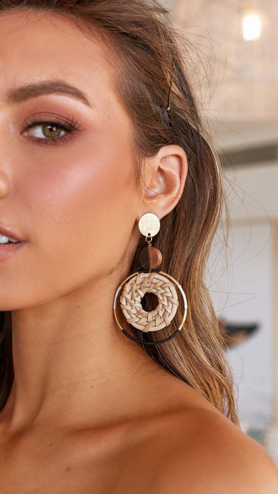 Weave Ring Button Top Earrings