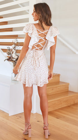 Teagan Dress - White/Rose