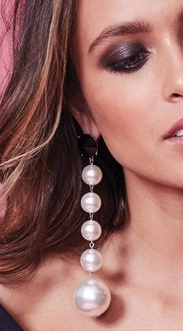 Ball Drop Earrings - White Pearl