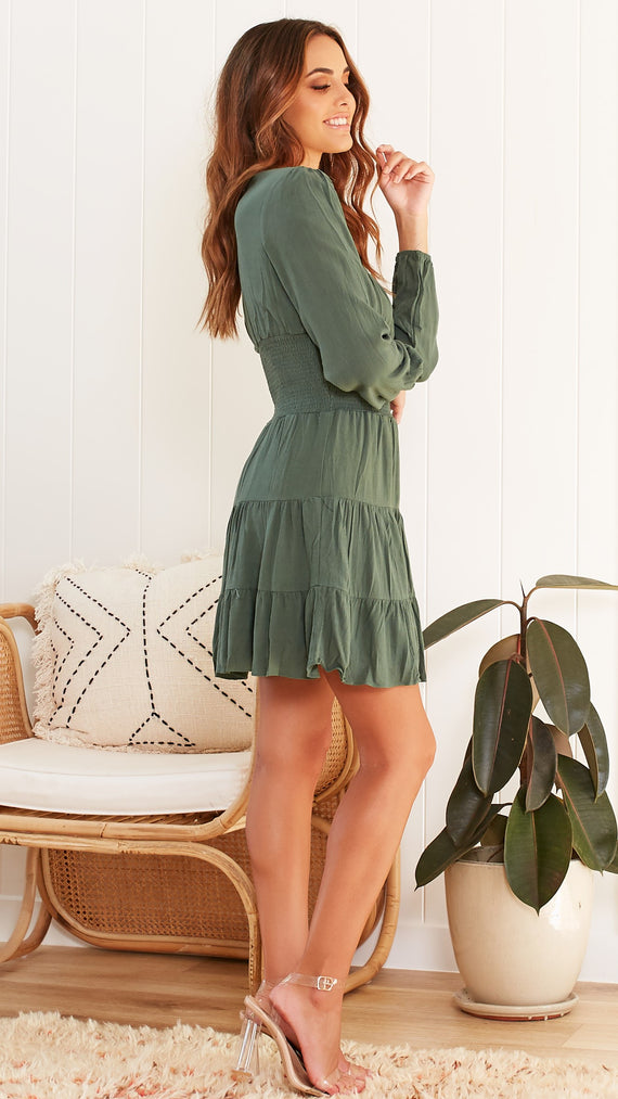 WINONA DRESS - FOREST GREEN