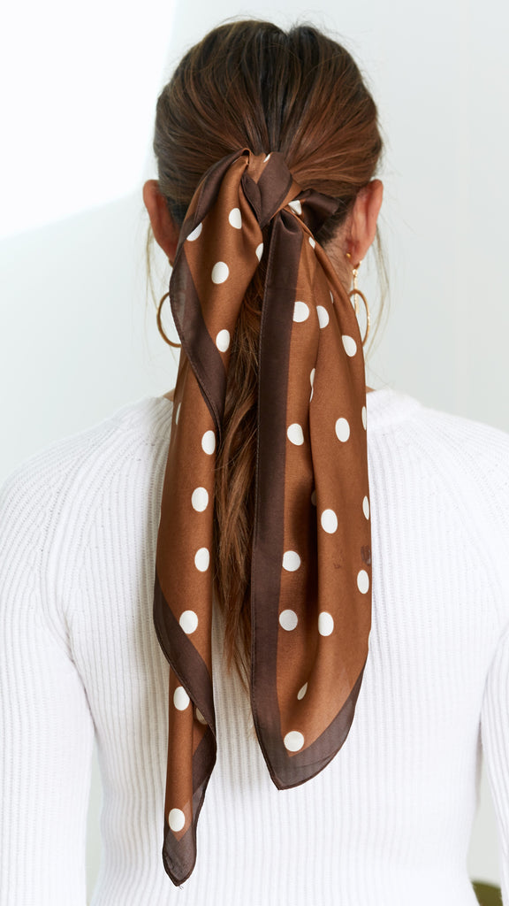 Ashley Scarf - Brown/White Polka Dots