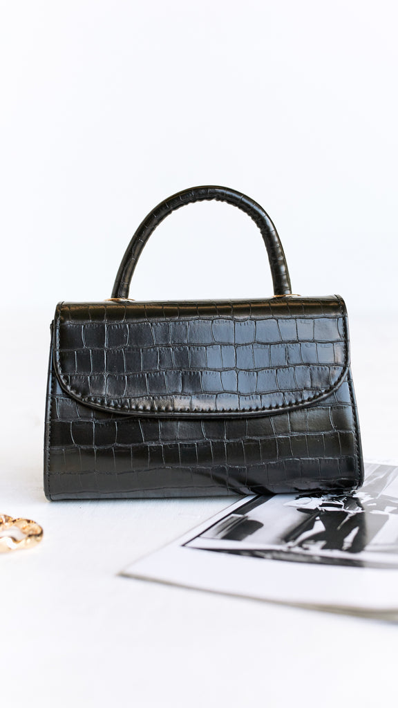 Crystine Bag - Black Croc Print