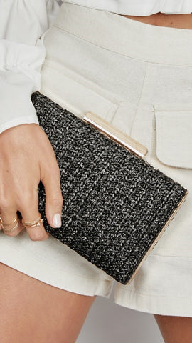 Indiana Clutch - Black Raffia