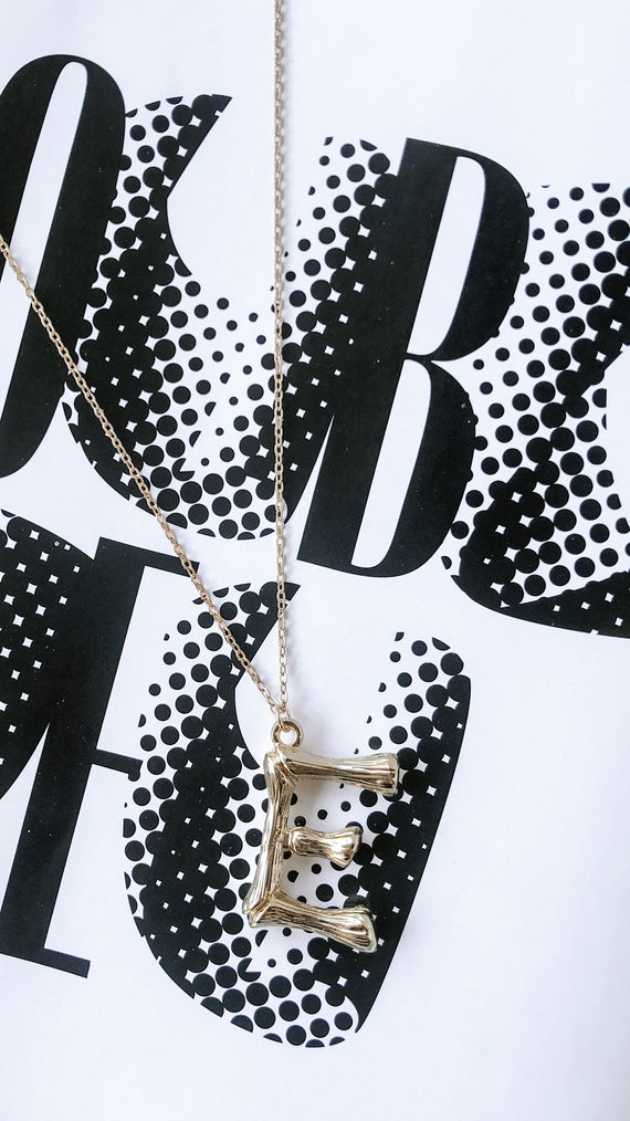 Gold Initial Necklace - E