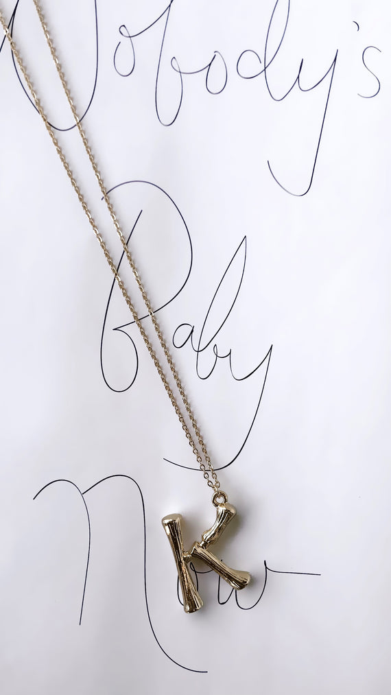 Gold Initial Necklace - K