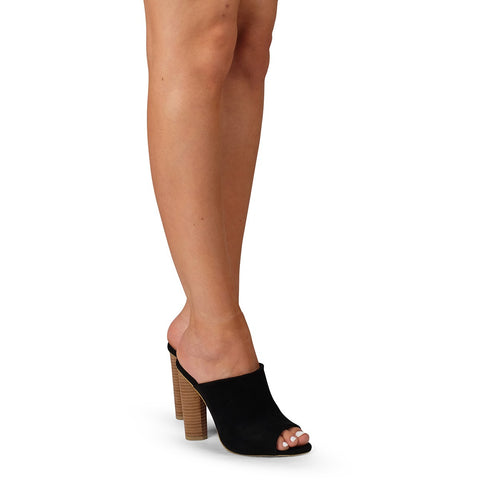 Laos Black Suede Block Heels
