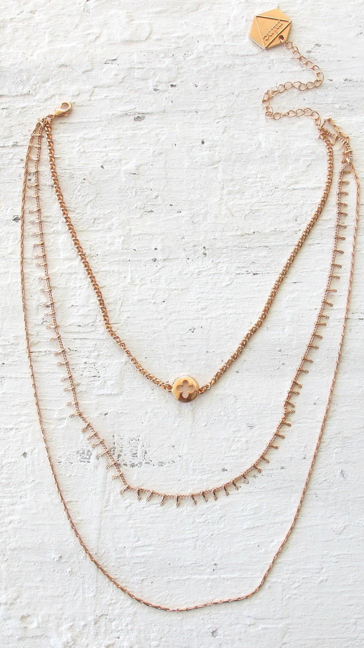 LUXE TRIPLE LAYER NECKLACE - ROSE GOLD